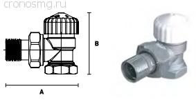 Вентиль термостатический угловой ELSEN с преднастройкой 1/2''В — 1/2''H