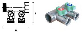 Коллектор модульный ELSEN с запорными кранами, выход 3/4'' EK
